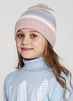 Шапка для девочек - пудра, серый, голубой, синий