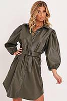 Платье- рубашка женское из экокожи с длинным рукавом ( (размер XS, S,M, L, XL, 40, 42,44,46,48,50, 52)