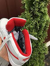 Высокие зимние женские,подростковые, кроссовки Nike Air Force,белые с красным, фото 2