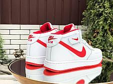 Высокие зимние женские,подростковые, кроссовки Nike Air Force,белые с красным, фото 3