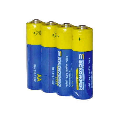 Пальчиковые батарейки АА солевые Аско-Укрем - 4 шт, АА, R6