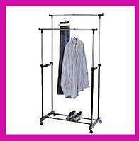 Телескопическая стойка-вешалка для одежды и обуви - Double Pole Clothes Horse!Акция, фото 1
