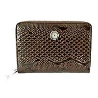 Женский портмоне кожаный с обложкой для док Karya 1147-015 коричневый лаковый