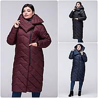 Модное зимнее женское пальто-кокон VS 197 с красивым воротником