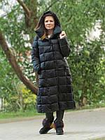 Женский длинный пуховик одеяло VS 87 с воротником подушкой, цвет чёрный
