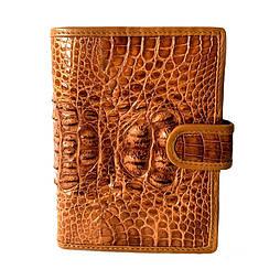 Чоловічий гаманець зі шкіри крокодила Mosart Custini 1115 рудий