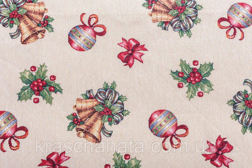 Скатертина новорічна гобеленова, D180см, Ексклюзивні подарунки, Новорічний текстиль