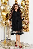 Женское платье вечернее основа - креп-дайвинг и сетка в горошек в размерах от 48 до 56