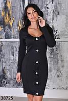 Повседневное трикотажное платье по фигуре с длинными рукавами с 42 по 46 размер, фото 1