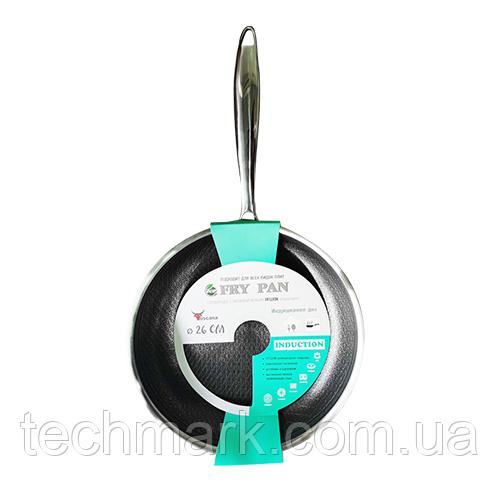 Сковорода Fry Pan с антипригарным PFLUON покрытием с защитной насечкой 26 см 9090-26