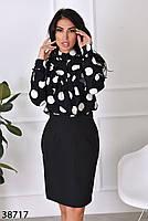 Женственная блузка в крупный горошек с 42 по 46 размер, фото 4