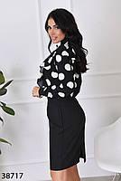 Женственная блузка в крупный горошек с 42 по 46 размер, фото 2