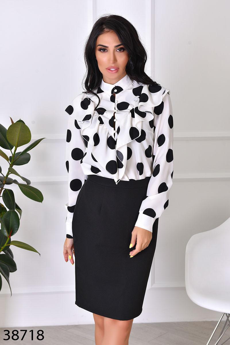 Женственная блузка в крупный горошек с 42 по 46 размер