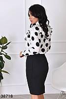 Женственная блузка в крупный горошек с 42 по 46 размер, фото 3