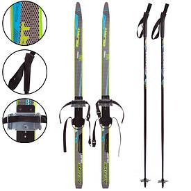 Беговые лыжи детские ZELART 120 см в комплекте с палками 100 см SK-0881-120B, Синий