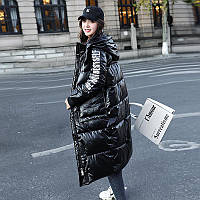 Непродуваемая куртка длинная женская зимняя Oversize S-M