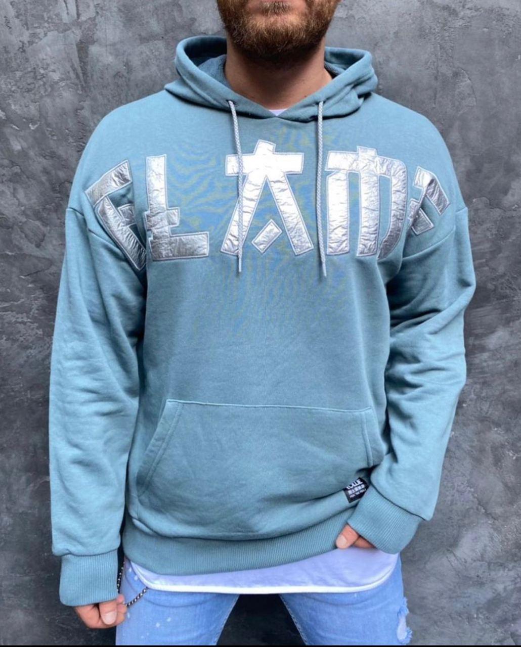 Худі - чоловіча худі стильна блакитна