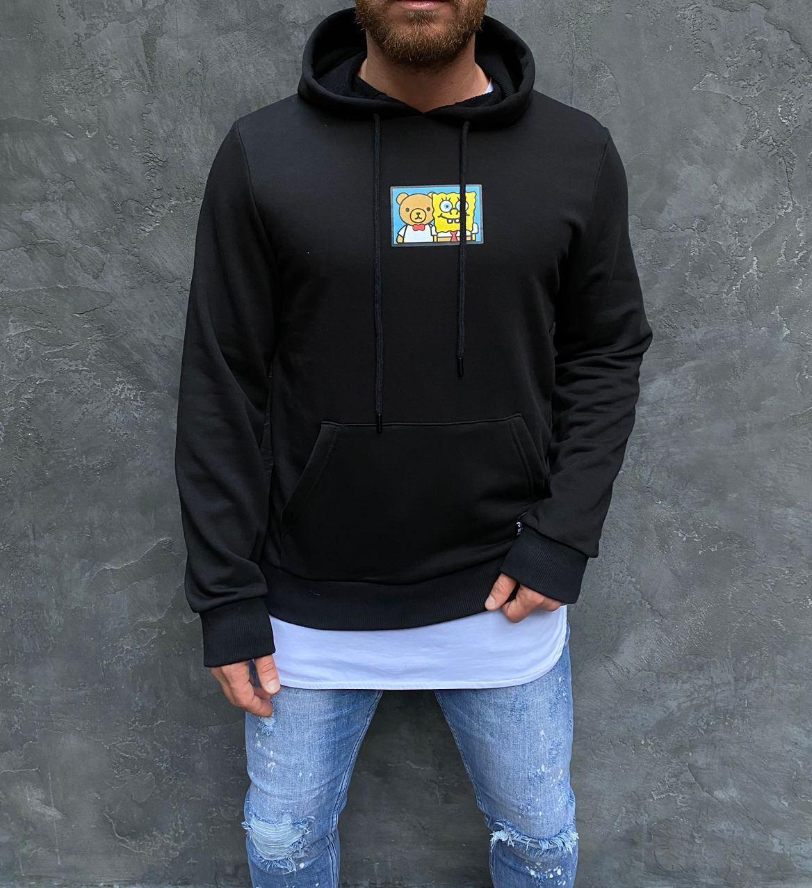 Худи - мужская худи стильная черная с  принтом
