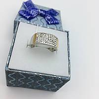 Серебряное кольцо с золотыми пластинами Сваровски