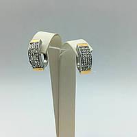 Серебряные серьги с золотыми пластинами фианит Сваровски