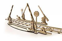 Механический 3D пазл «Рельсы с ж/д переездом» деревянный конструктор UGears