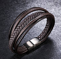 Чоловічий браслет шкіряний коричневий в скандинавському стилі