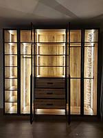 Шкаф гардеробный с подсветкой. Шкаф с стеклянными фасадами. Шкаф современный модель 2021, фото 1