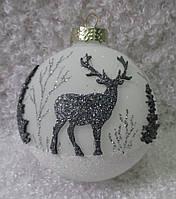 """Новогодний елочный шар из стекла в подарок  85 мм """"Олени"""""""