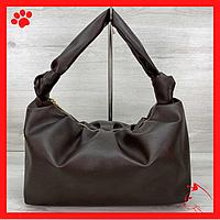 Модная женская сумка среднего размера через плечо из искусственной кожи кожзама экокожи коричневого цвета 2020
