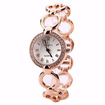 Жіночі наручні годинники із золотим браслетом код 520