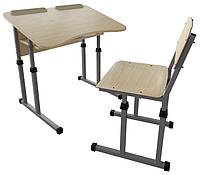Парта 2 антисколиозная с вырезом и школьный стул