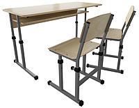 Парта 3 двухместная и школьные стулья