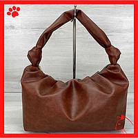 Модная женская сумка среднего размера через плечо из искусственной кожи кожзама экокожи рыжего цвета 2020