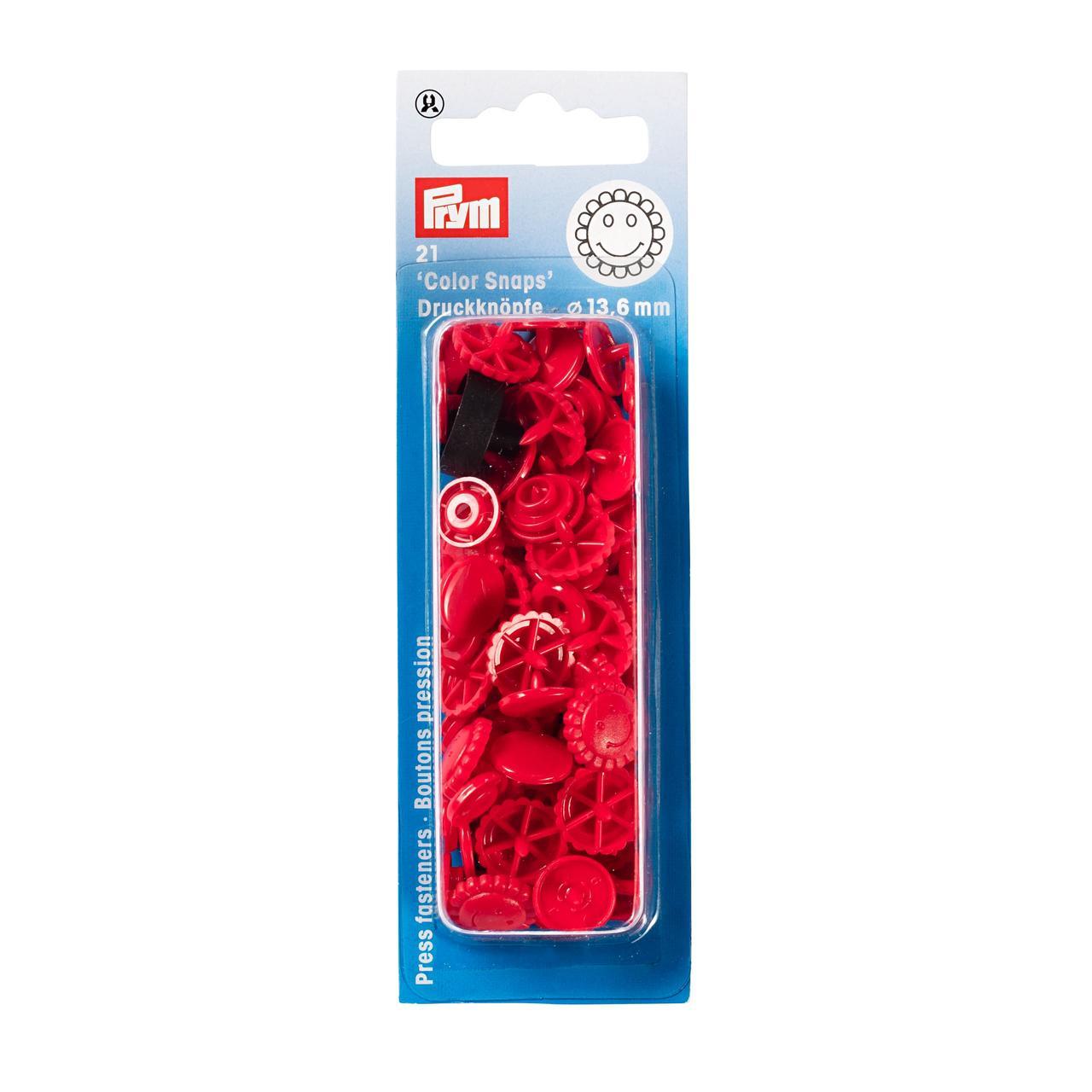 Непришивные кнопки «Color Snaps» цветок, 13.6 мм, красные Prym 393438