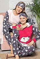 Теплая женская пижама флис + махра, Турция, фото 1
