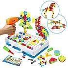 Детский конструктор мозаика с шуруповертом в чемодане 193 детали |  Конструктор с шуруповертом Creative Puzzle, фото 4