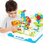 Детский конструктор мозаика с шуруповертом в чемодане 193 детали |  Конструктор с шуруповертом Creative Puzzle, фото 2