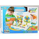 Детский конструктор мозаика с шуруповертом в чемодане 193 детали |  Конструктор с шуруповертом Creative Puzzle, фото 5