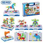 Детский конструктор мозаика с шуруповертом в чемодане 193 детали |  Конструктор с шуруповертом Creative Puzzle, фото 6