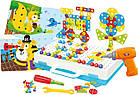 Детский конструктор мозаика с шуруповертом в чемодане 193 детали |  Конструктор с шуруповертом Creative Puzzle, фото 3