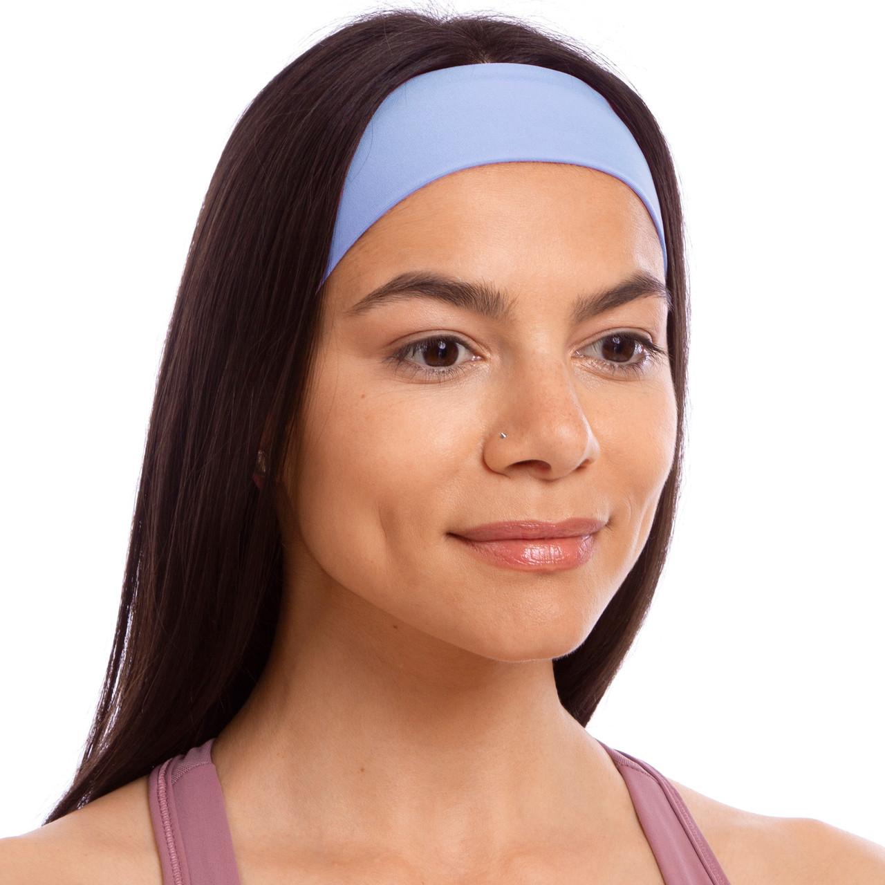 Повязка на голову для занятий спорта из хлопка Голубой