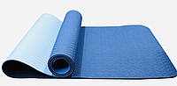 Коврик для йоги йогамат из каучука двуслойный синий/голубой 183 х 61 х 0,6 см, фото 1
