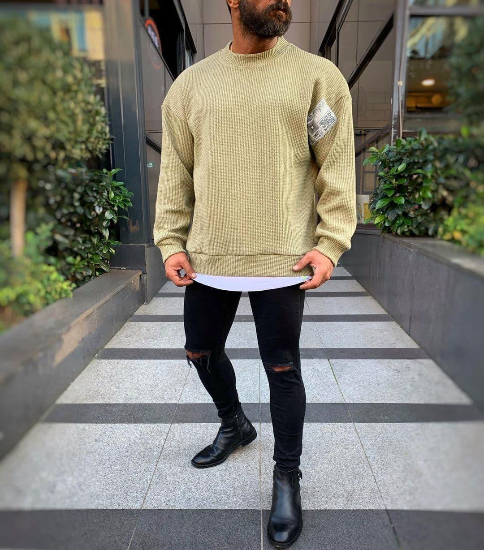😜 Лонг - мужской свитшот оливкового цвета