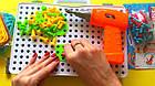 Детский конструктор мозаика с шуруповертом в чемодане 193 детали |  Конструктор с шуруповертом Creative Puzzle, фото 7