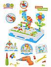 Детский конструктор мозаика с шуруповертом в чемодане 193 детали |  Конструктор с шуруповертом Creative Puzzle, фото 8