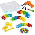 Детский конструктор мозаика с шуруповертом в чемодане 193 детали |  Конструктор с шуруповертом Creative Puzzle, фото 9