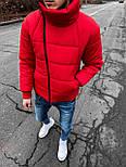 😜 Куртка Чоловіча куртка зимова червона з косим замком, фото 3
