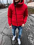 😜 Куртка Чоловіча куртка зимова червона з косим замком, фото 2
