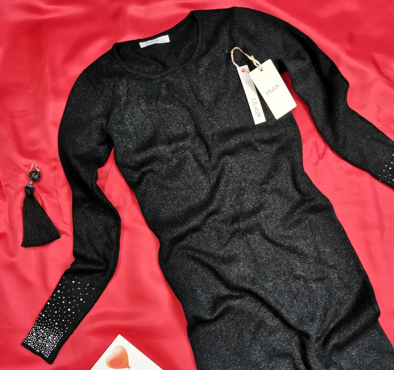 Красиве жіноче чорне плаття з люрексом