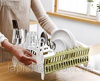 Органайзер для посуды складная компактная подставка для посуды, фото 4